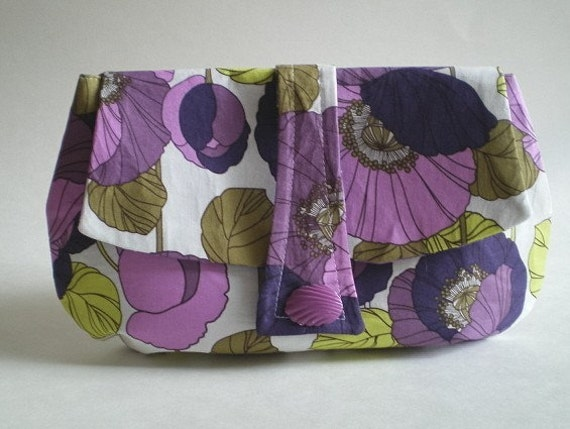 50% CLEARANCE SALE, Clutch, cosmetic pouch, purple, lavender, green, white, floral