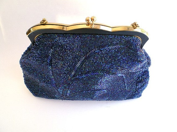 Vintage, Mid Century, Mad Men, beaded, clutch, purse, Midnight Blue