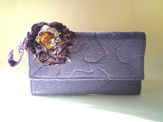 fabric handbag, lavender wool felt, clutch. purse, 50% CLEARANCE SALE, black friday, cyber monday, wristlet, peach, purple,