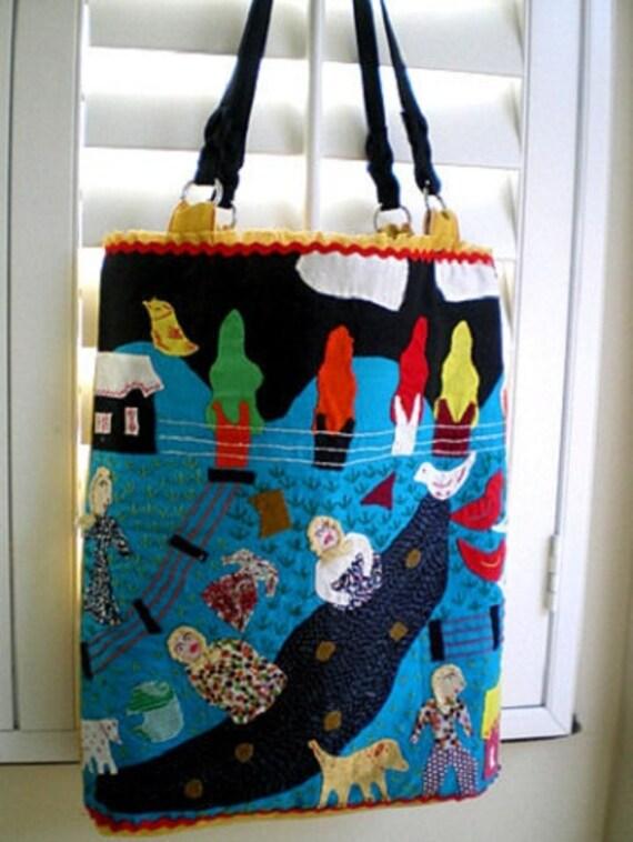 15% COUPON SALE, handbag, purse, book tote, ethnic, tribal, folk art, Peru, Anthropology style, canvas, aqua, yellow