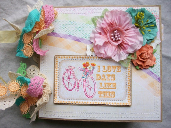PREMADE Paper Bag scrapbook Photo ALBUM ocbrandy -I love days like this- mini-webster's pages- book