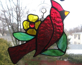 Stained Glass Cardinal  Garden Stake or Sun Catcher
