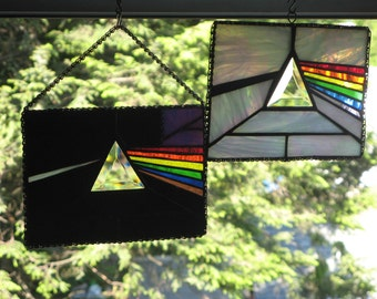 Dark Side Of The Moon Stained Glass Panel Pink Floyd in Black dark light blue amber purple pink