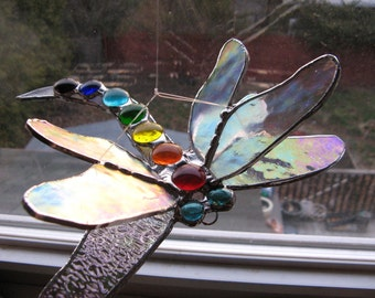 Double Winged Damselfly Dragonfly Brilliant Chakra and Iridescent Wings Light catcher
