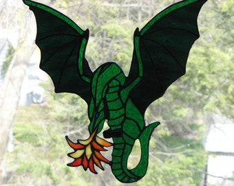 PERN Fire Breathing Stained Glass Dragon in Iridescent green