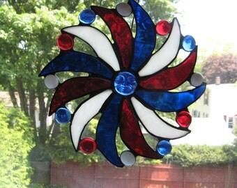 Moon Face Sun Pinwheel Stained Glass Art