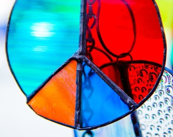PEACE Sign in Stained Glass