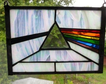 Dark Side Of The Moon Stained Glass Panel Pink Floyd in  many colors  or negative reversed white with black ray