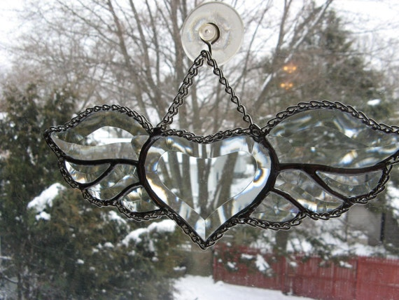 Enchanting Beveled Winged Heart  Stained glass Light Sun Catcher  wrapped in chain