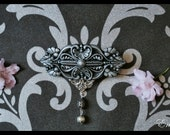 Antique Silver Neo Victorian Barrette / Hair Clip