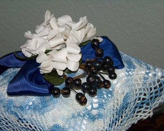 Shabby Chic Vintage Millinery Ring Bearer Pillow with Blueberries Country Wedding Vintage Doily Shabby Chic Cottage Style Denim Blue