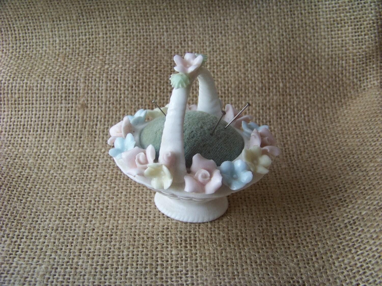 Vintage Lenwile Ardalt Flower Basket Pin Cushion By Traceyanns