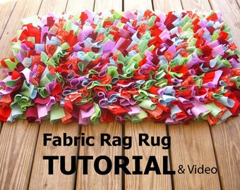 Fabric Rag Rug Tutorial and Video link
