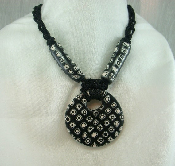 Black and White Extruded Polymer Clay Necklace and Earring Set