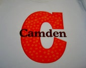 Polka dot Custom designed boutique applique monogrammed embroidered Alphabet or Birthday T-shirt or One piece w/snaps toddler boys girls