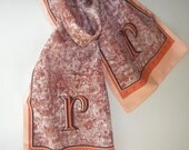 Vintage 80s long silk scarf with The letter R. Made in Italy. Free shipping