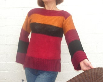VIntage 70s Multicolor Stripe Sweater.Made  by SEARS JR BAZZAR.Size M