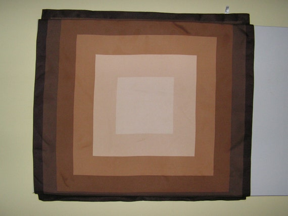 Vintage square silk scarf with variety of brown color geometric print.Made my Venezia in Italy.