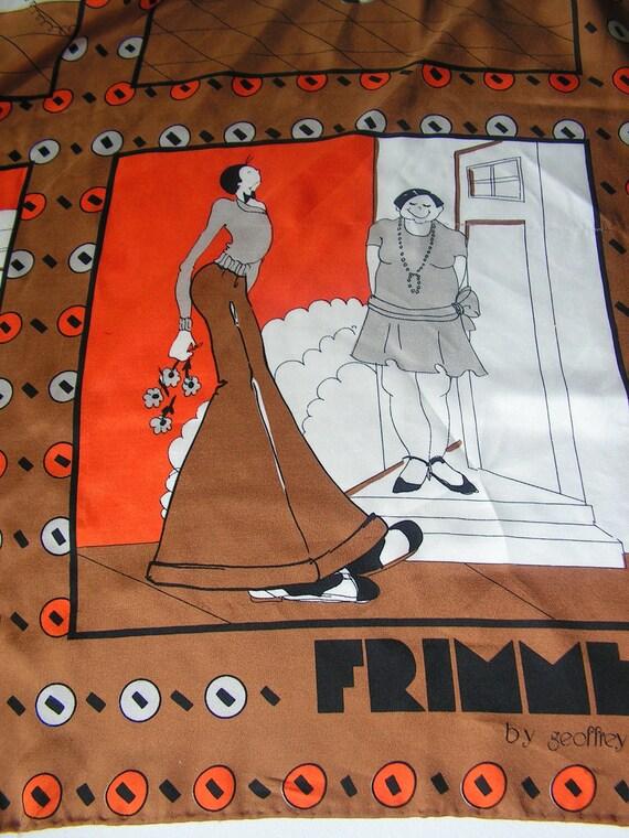 Retro vintage 70s  cartoon  Frimmel silk scarf, made by Geaffrey  Howard.Reserved for Birdinthetrees