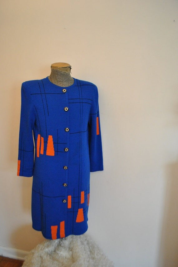 Reserved for Bleue bleue. Luxurious vintage 80s royal blue with orange block  santana knit dress.Made by St.John( unlabeled).Size M.