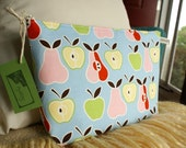 SALE -- GUSSY Pouch - Apples and Pears Zipped Make-Up Bag or Diaper Organizer, Waterproof