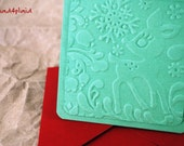 Blank Holiday Mini Card Set of 10, Embossed Reindeer on Pine Green with Bright Red Envelopes, Handmade Paper Goods by mad4plaid on Etsy