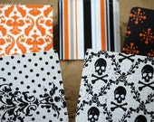 Blank Mini Halloween Card Set of 10, Mixed Patterns all with Contrasting Patterns on the Inside, Black Envelopes, mad4plaid on Etsy
