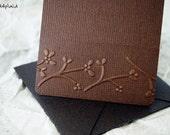 Blank Mini Card Set of 10, Embossed Flower Border on Chocolate, Metallic Bronze Envelopes, mad4plaid on Etsy