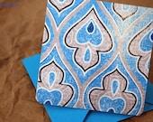 Blank Mini Card Set of 10, Wavy Fleur de Lis Design with a Contrasting Pattern on the Inside, Aqua Envelopes, mad4plaid