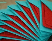 Blank Mini Card Set of 10, Embossed Design on Bright Red with Bright Aqua Envelopes, mad4plaid on Etsy