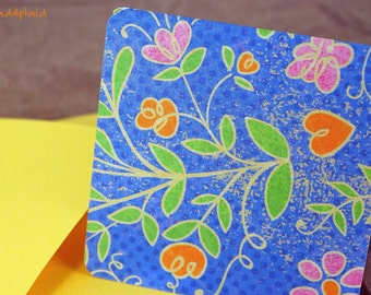 Blank Mini Card Set of 10, Periwinkle Floral with Contrasting Pattern on the Inside, Sunny Yellow Envelopes, mad4plaid on Etsy