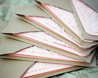 Blank Mini Card Set of 6, Light Peach Tone on Tone Embossed, with Mocha Metallic Envelopes Handmade Paper Goods by mad4plaid on Etsy