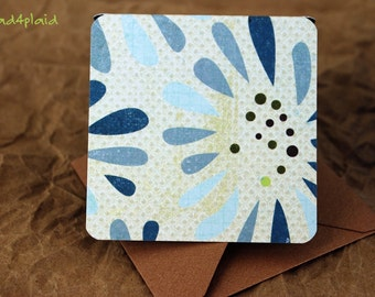 Blank Mini Set of 10 Cards, Graphic Floral with Contrasting Pattern on the Inside with Metallic Mocha Envelopes, mad4plaid on Etsy