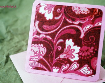 Blank Mini Card Set of 10, Romantic Swirl on Pink with Pale Pink Metallic Envelopes, Handmade Paper Goods by mad4plaid on Etsy