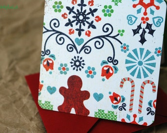 Blank Mini Holiday Set of 10 Cards, Charming Gingerbread Design with Contrasting Pattern on the Inside, Red Envelopes, mad4plaid