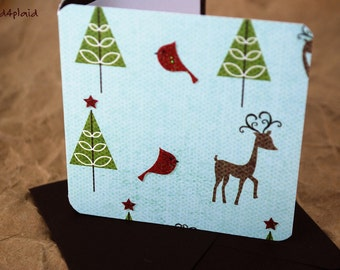 Blank Mini Holiday Card Set of 10, Reindeer and Tree Graphic with Contrasting Pattern on the Inside, Chocolate Brown Envelopes, mad4plaid