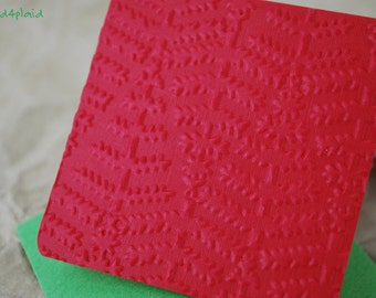 Blank Mini Holiday Card Set of 10, Embossed Tree Design on Bright Red, Bright Green Envelopes, mad4plaid