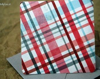Blank Mini Card Set of 10, Pink and Gray Plaid with Contrasting Floral on the Inside, Soft Gray Envelopes, mad4plaid