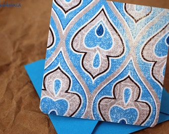 Blank Mini Card Set of 10, Wavy Fleur de Lis Design with a Contrasting Pattern on the Inside, Aqua Envelopes, mad4plaid