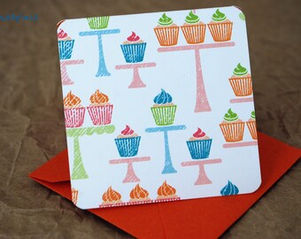 Blank Mini Card Set of 10, Tiered Cupcake Design with Contrasting Polka Dot Pattern on the Inside, Metallic Orange Envelopes, mad4plaid