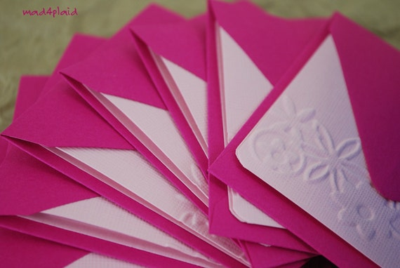 Blank Mini Card Set of 10 Embossed  Floral, Petal Pink w/ Raspberry Envelopes, Handmade Paper Goods by mad4plaid on Etsy