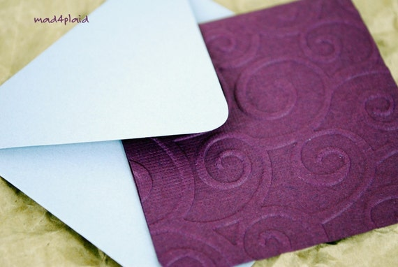 Blank Mini Card Set of 6 Dark Plum Embossed with Soft Gray Envelopes Handmade Paper Goods by mad4plaid on Etsy