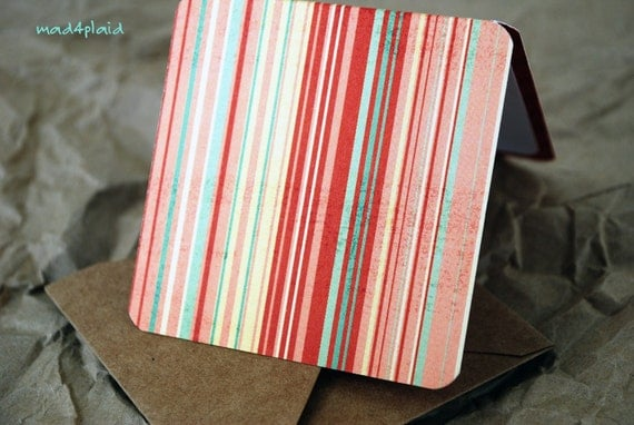 Blank Mini Card Set of 10, Tiny Stripe with Contrasting Heart Pattern on the Inside, Natural Kraft Envelopes, mad4plaid on Etsy