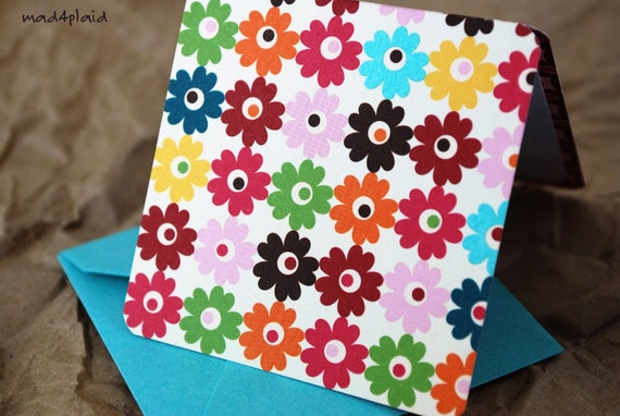 Blank Mini Card Set of 10, Happy Floral Design with Contrasting Floral on the Inside, Bright Aqua Envelopes, mad4plaid on Etsy