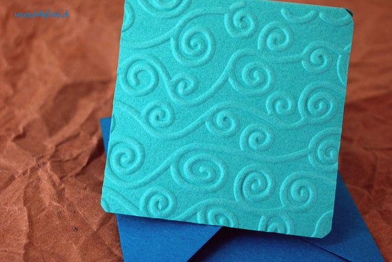 Blank Mini Card Set of 10, Embossed Swirl on Sea Glass Green, with Tropical Blue Envelopes, mad4plaid on Etsy