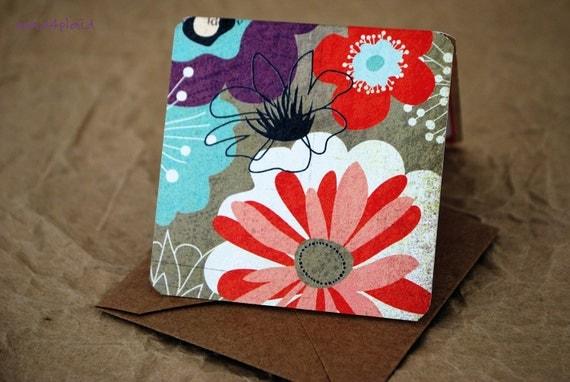 Blank Mini Card Set of 10, Mod Floral Design with Contrasting Stripe on the Inside, Natural Kraft Envelopes, mad4plaid on Etsy