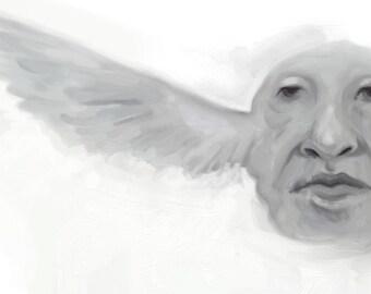 winghead - black white 11x17 art print