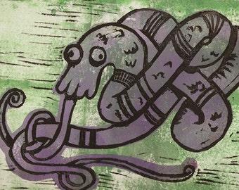 purple coiled dragon - ink block print obakemono japanese ghost