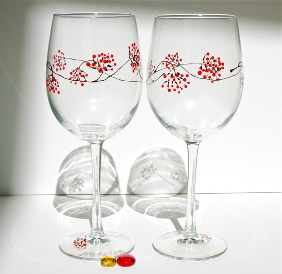 winter berry iii hand painted wine glasses set of 2