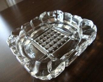 Retro ashtray glass ashtray crystal ashtray SMALL ashtray square ashtray tiny ashtray clear glass ashtray cut glass ashtray waffle grid